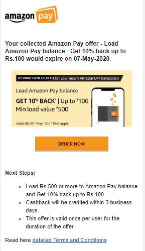 Add Amazon Pay balance – Get 10% back up to Rs.100 – Expires by 07-May-2020